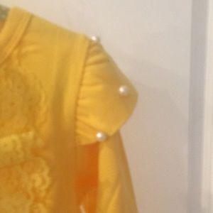 Shirts & Tops - Yellow ruffled lace shirt